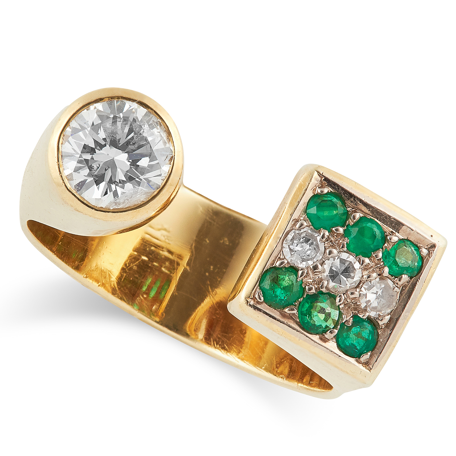 ABSTRACT DIAMOND AND EMERALD RING set with round cut diamonds and round cut emeralds, N / 7, size