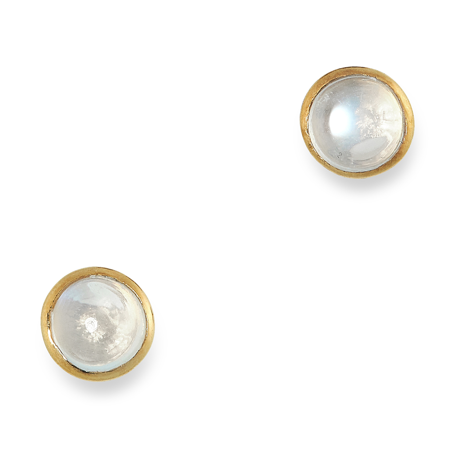 MOONSTONE STUD EARRINGS set with cabochon moonstones, 0.6cm, 1.2g.
