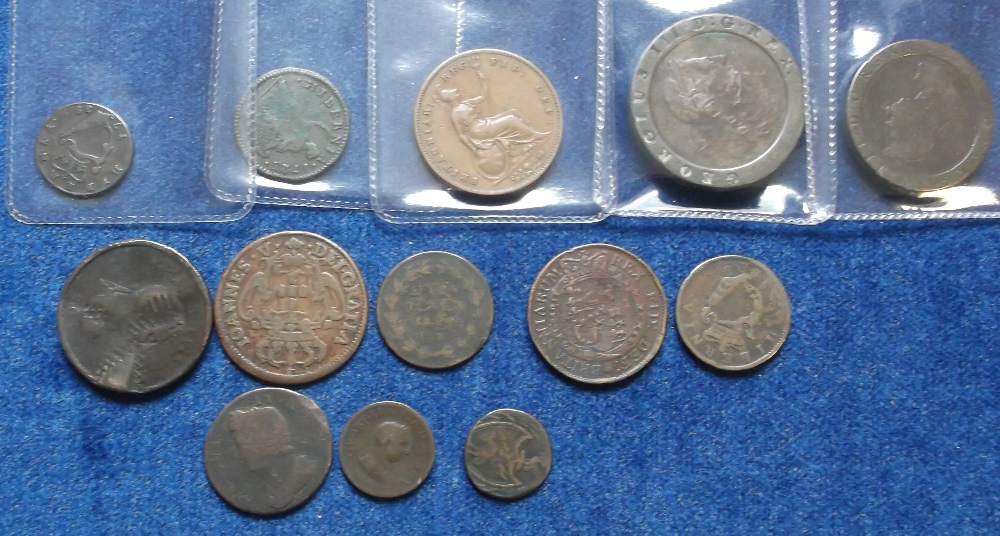 Lot 10 - Coins, copper selection of mostly GB coins, George 1 to Queen Victoria inc. George 3rd cartwheel