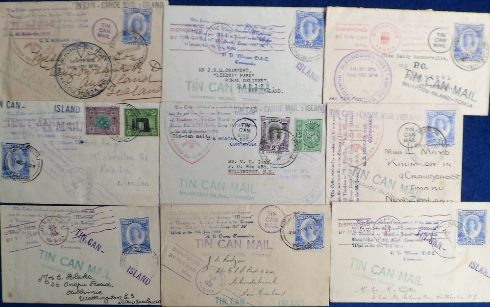 Lot 39 - Postal History, Tonga, a collection of 9 tin can mail postal covers all sent from Niuafou Island,
