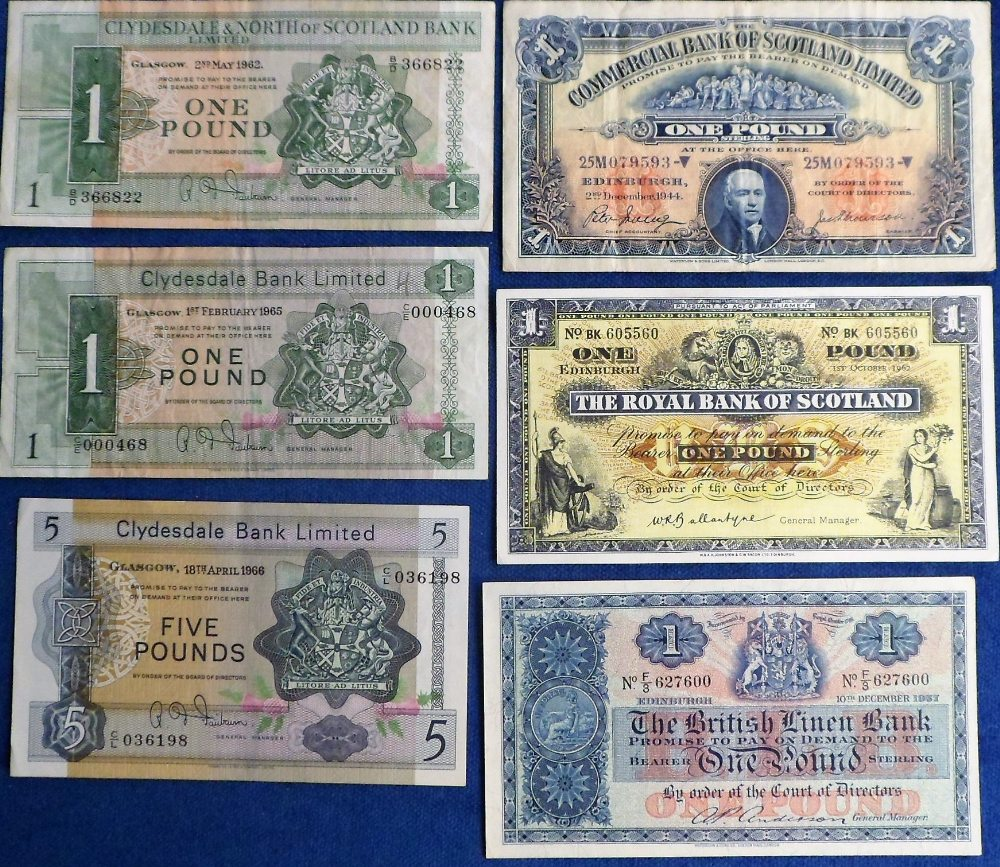 Lot 29 - Banknotes, a collection of six Scottish banknotes, Clydesdale Bank £5 note C/L 036198 dated 18 April