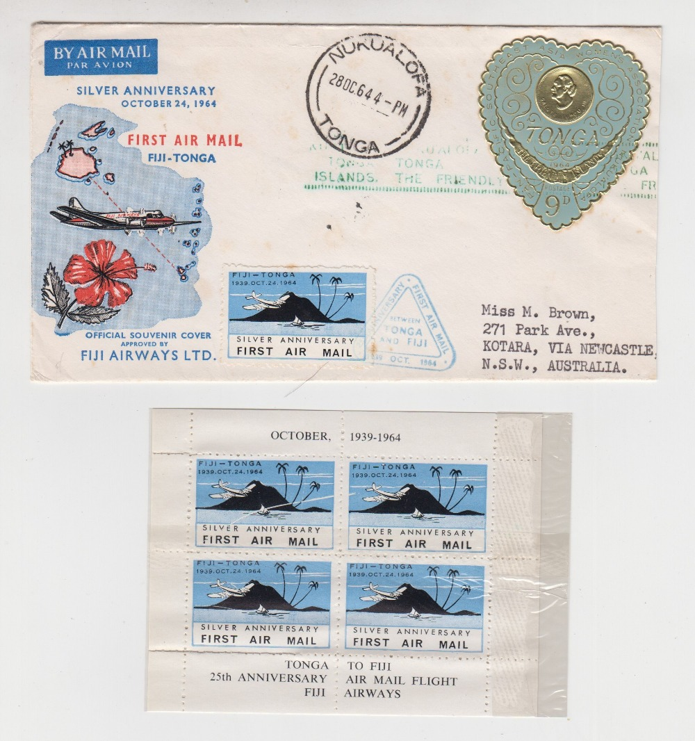 Lot 37 - Postal History, Tonga - Fiji, scarce cover to celebrate the Silver Anniversary of First Day of
