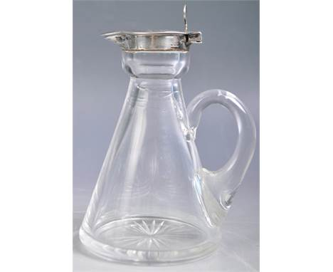 An antique early 20th Century Edwardian English silver and glass whisky Noggin jug of simple bell shaped form having a single