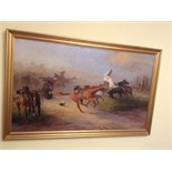 Large original oil painting battle scene signed e a simkins 1939