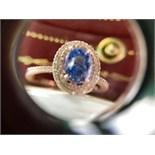 *Beautiful* 2.43ct Blue Sapphire & Micropavé Diamond Double Halo Ring