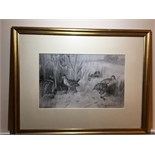 FRANK SOUTHGATE MONOTONE WATERCOLOUR SIGNED & DATED