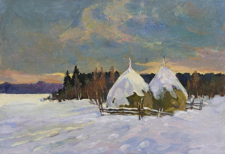 Lot 40 - PITTORE RUSSO DEL NOVECENTO Paesaggio invernale con neve al tramonto