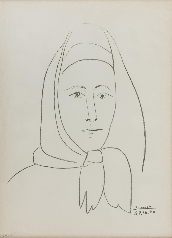 Lot 6 - PABLO PICASSO (Malaga 1881 - Mougins 1973) Ritratto di donna, 1960