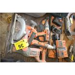 LARGE QTY OF RIDGID CORDLESS POWER TOOLS WITH BATTERIES & CHARGER & CASE