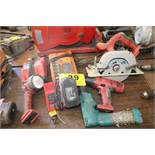 ASSORTED CORDLESS TOOLS, CHARGERS & BATTERY