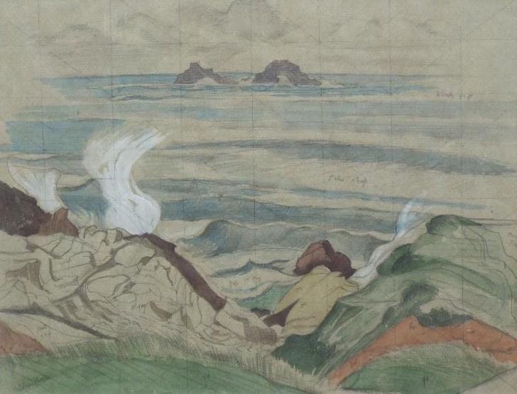 John Northcote Nash (1893-1977) - Coastal Scene, signed, ex-Christies consignment label verso,