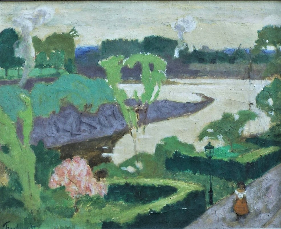 Julian Trevelyan (1910-1988) - 'Chiswick in May', signed, titled verso, oil on canvas, 40 x 50cm,