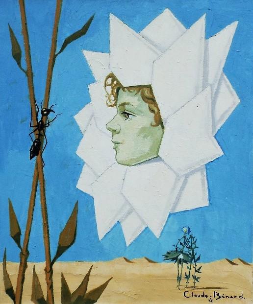 Claude Benard (20th/21st century) - 'Untitled' (Daisy Head) Oil on Canvas, 55 x 46cm, framed