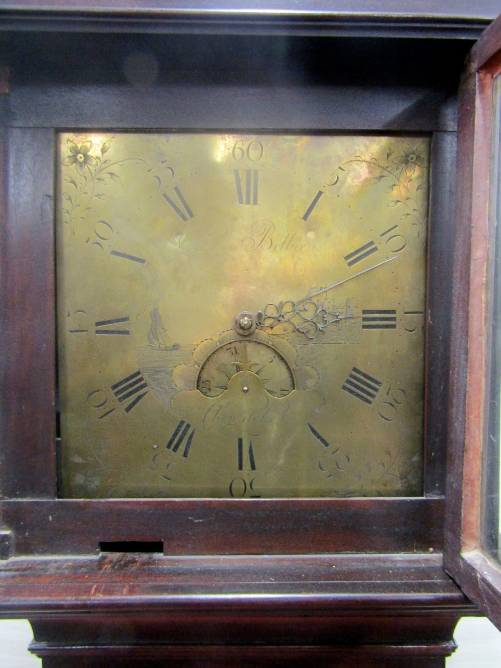 A Georgian mahogany longcase clock by Edward Bilbie of Chew Stoke, the square brass dial with etched - Image 2 of 7