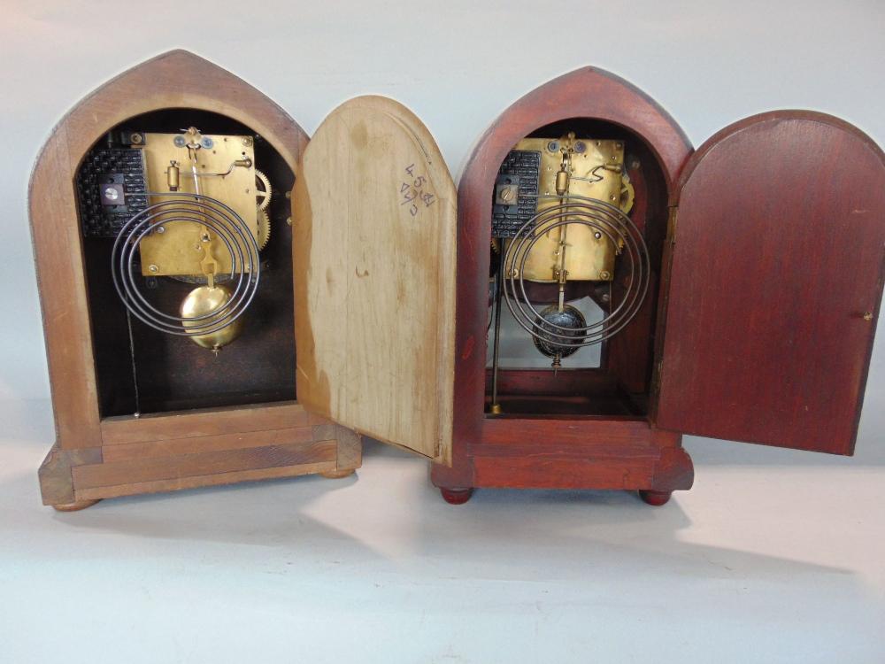 Three Edwardian two train lancet mantel clocks - Image 3 of 3