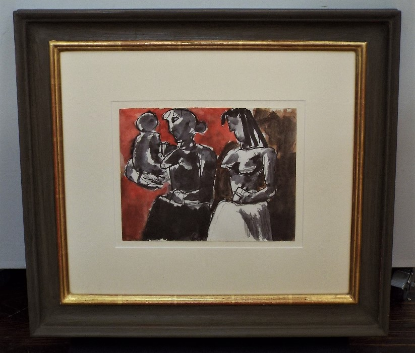 Lot 76 - Josef Herman (1911-2000, Polish) - 'Figures with Child', signed verso, mixed media, 17 x 22cm,