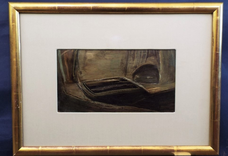 John Dalton (1915-1989) - 'Park Mead', signed, inscribed verso, oil on paper, 14.5 x 26.5cm, framed - Image 2 of 3