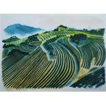 Bernard Cheese (1925-2013) - 'Vineyards at Suzette, Vancluse', 1/30 lithograph, 52 x 72cm, framed