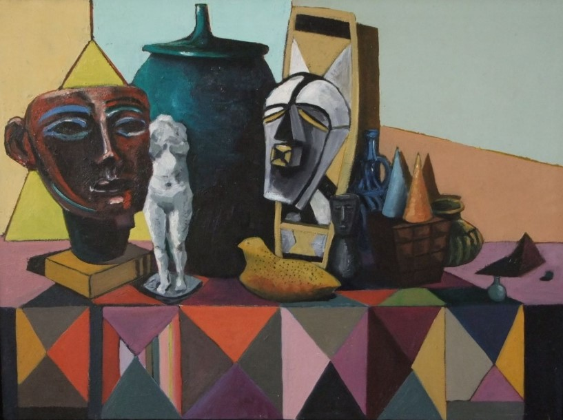 Lot 83 - Early 21st century school - Cubist style still life with masks, model of a bird, vase and cover,