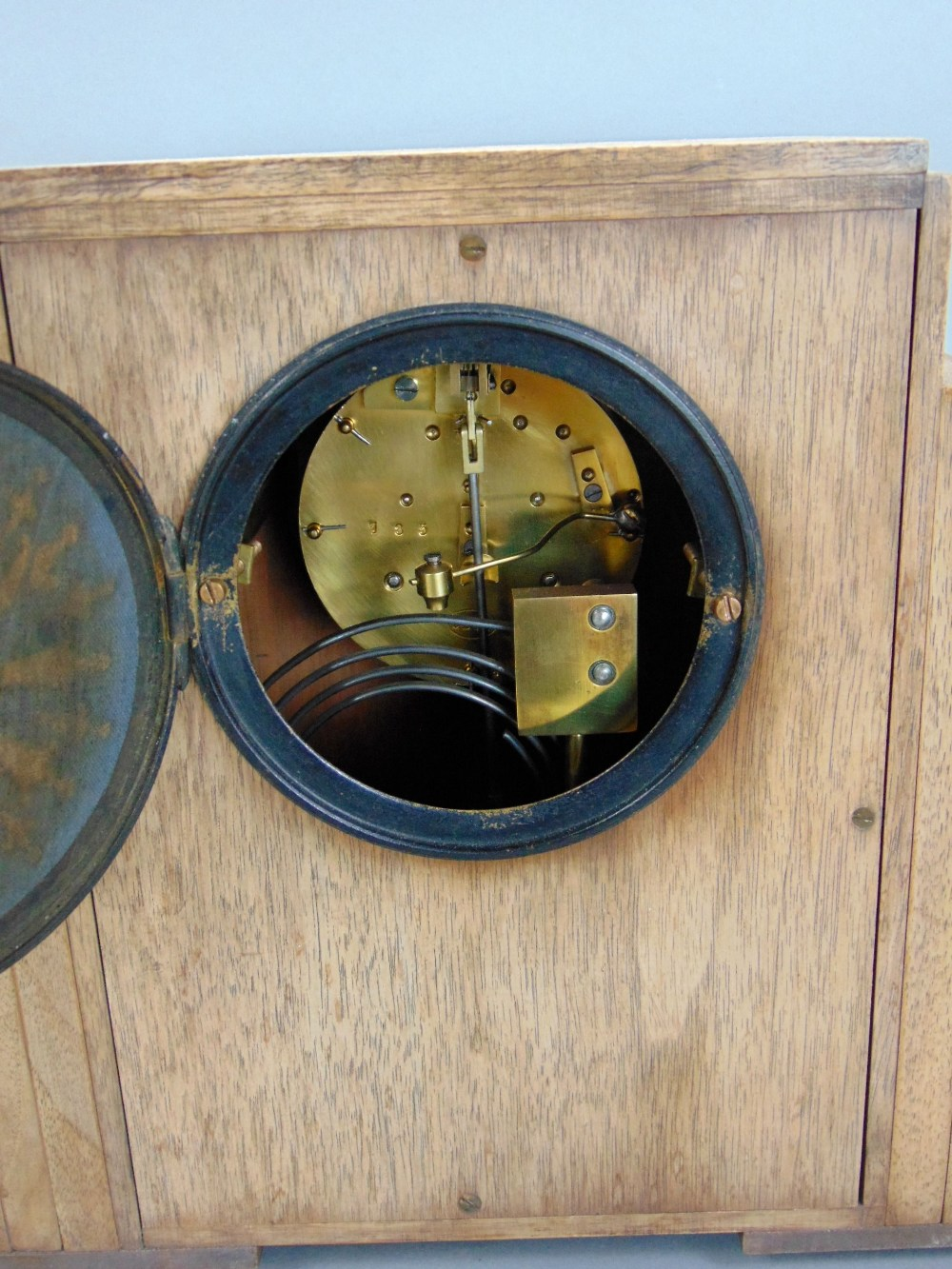 Art Deco walnut cased twin train mantels clock, with enamel chapter ring, arabic numerals, - Image 3 of 3