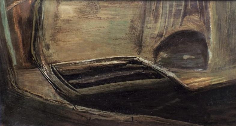 John Dalton (1915-1989) - 'Park Mead', signed, inscribed verso, oil on paper, 14.5 x 26.5cm, framed