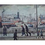 Laurence Stephen Lowry (1887-1976) - 'A View of a Town', signed, blind stamp seal, lithograph, 43