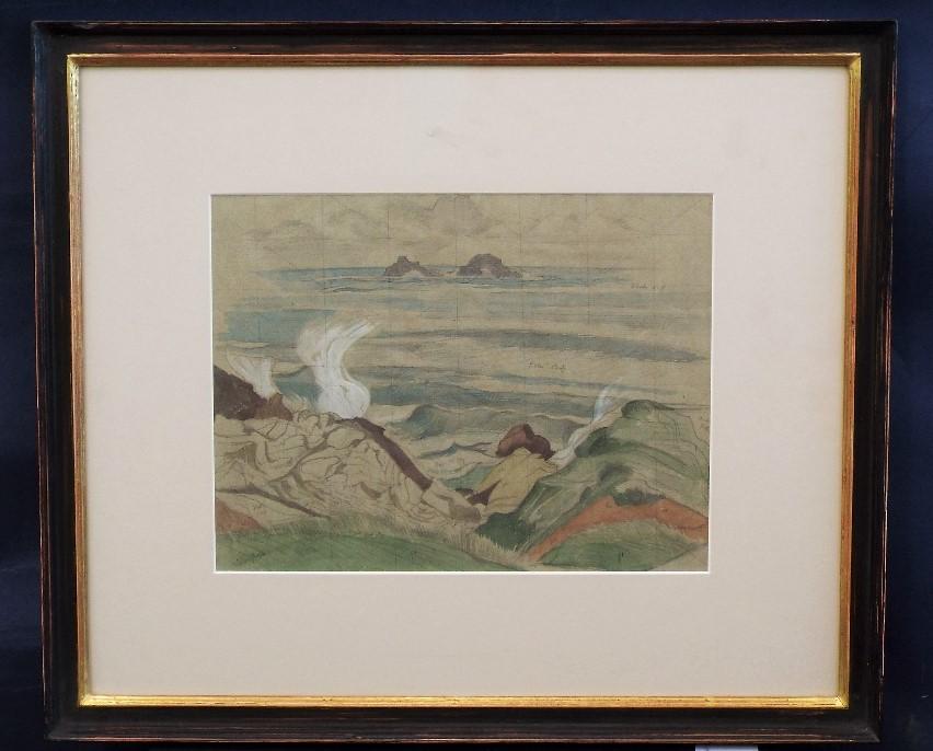 John Northcote Nash (1893-1977) - Coastal Scene, signed, ex-Christies consignment label verso, - Image 2 of 4