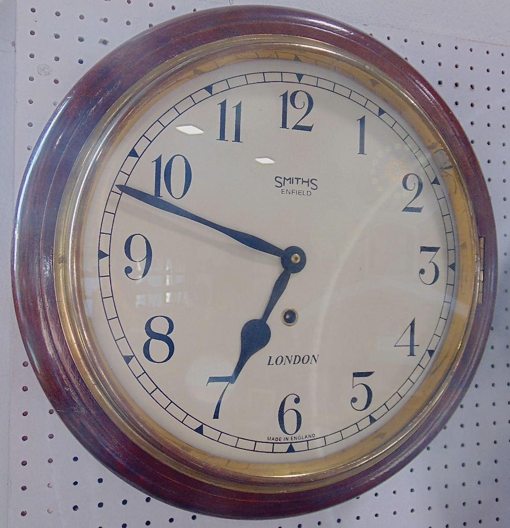 Lot 558 - Smiths or Enfield single train mahogany cased wall clock, with 11.5 inch dial, pendulum