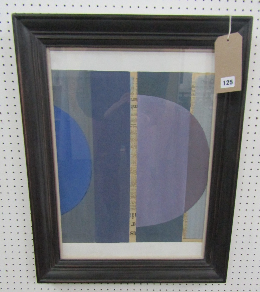 Lot 125 - George Holt (1924-2005) - 'Untitled' - blues, signed verso, Mixed Media, 54 x 39cm, framed