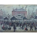 Laurence Stephen Lowry (1887-1976) - 'Market Scene, Northern Town', signed, lithograph, 45 x 60cm,