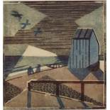 Edith Lawrence (1890-1973) - 'Dull Evening', signed, 13/50 Linocut, 28 x 27cm, framed