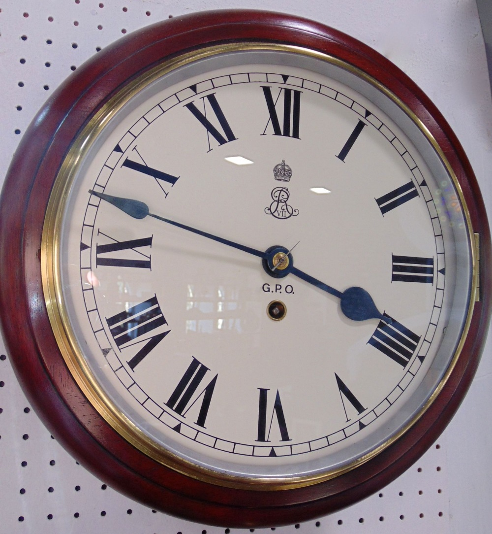 Mahogany cased single fusee wall clock with Roman numerals and inscribed GPO and royal monogram