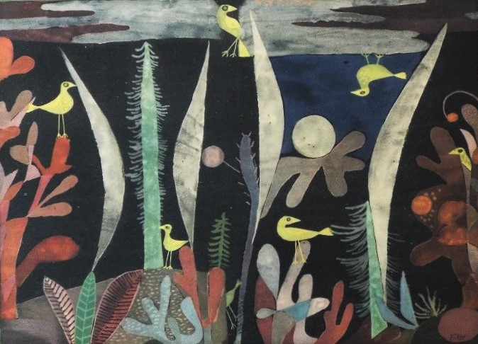 Paul Klee (1879-1940, Swiss) - 'Yellow Birds in Trees', lithograph, 26 x 33cm, framed