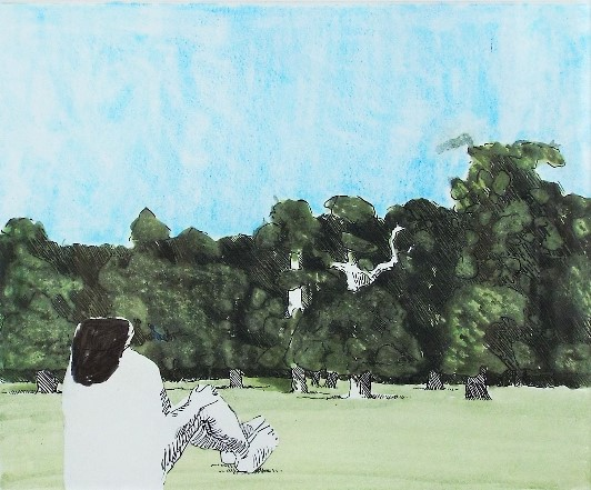 Kennith Armitage (1916-2002) - 'Park Scene', signed and dated 1978-1981, mixed media artist proof,