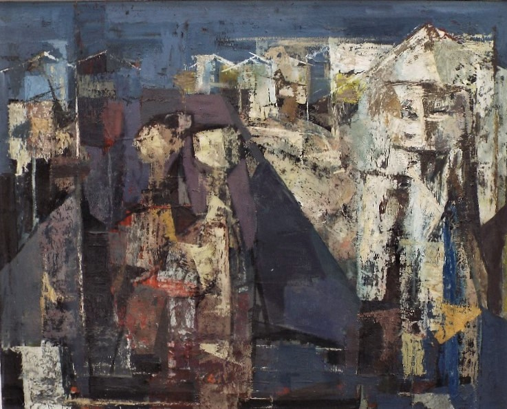 ? Davies (20th century) - 'Large abstract study', unsigned, part gallery label verso with limited