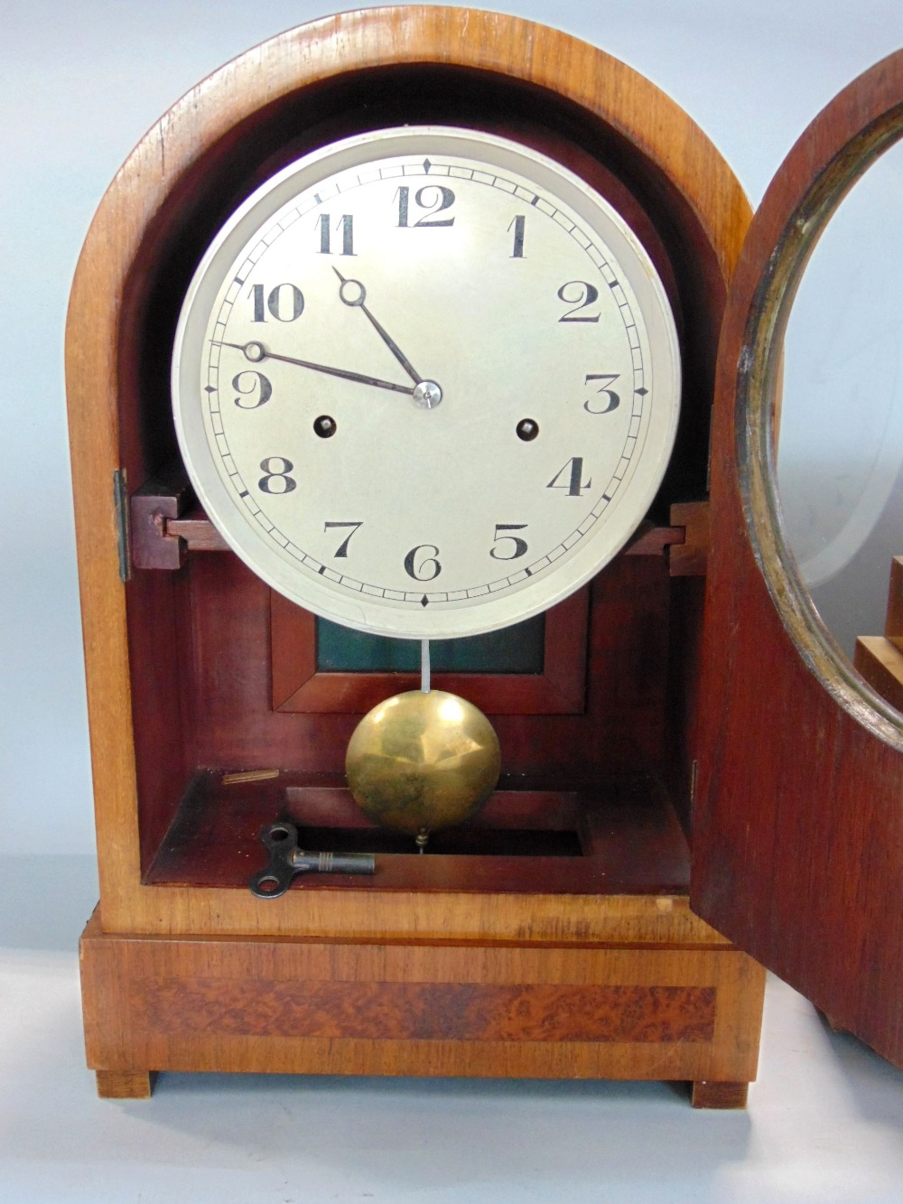 Art Deco walnut cased twin train mantels clock, with enamel chapter ring, arabic numerals, - Image 2 of 3