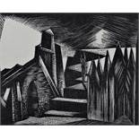 Paul Nash (1889-1946) - 'The Hall of the Gibichungs', Woodcut, 9 x 10cm, framed