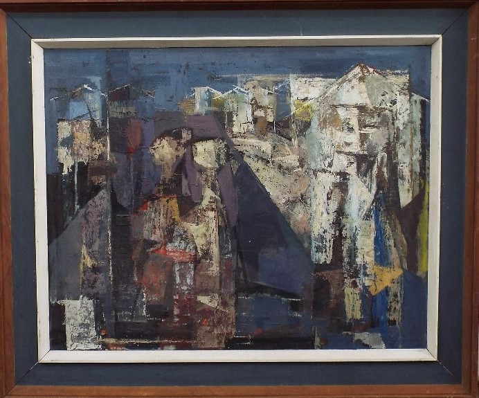 ? Davies (20th century) - 'Large abstract study', unsigned, part gallery label verso with limited - Image 2 of 3