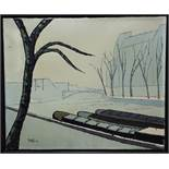 Ange (circle of Bernard Buffet) - 'River Scene'. signed and dated 1958, Oil on Canvas, 50 x 61cm,