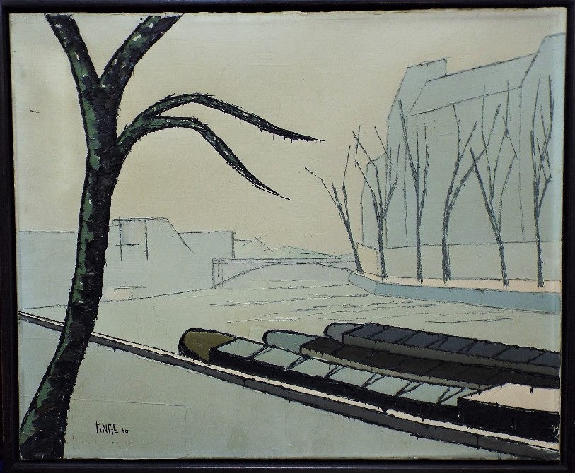 Lot 34 - Ange (circle of Bernard Buffet) - 'River Scene'. signed and dated 1958, Oil on Canvas, 50 x 61cm,