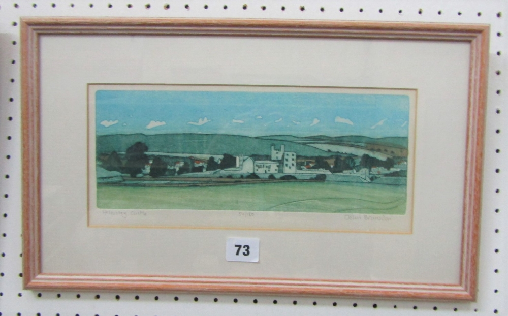 Lot 73 - John Brunsden (1933-2014) - 'Helmsley Castle', signed, 54/150 Etching in Colours, 11 x 19cm, framed