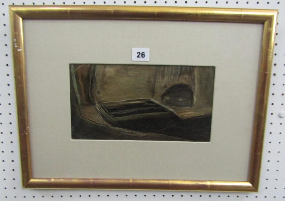 John Dalton (1915-1989) - 'Park Mead', signed, inscribed verso, oil on paper, 14.5 x 26.5cm, framed - Image 3 of 3