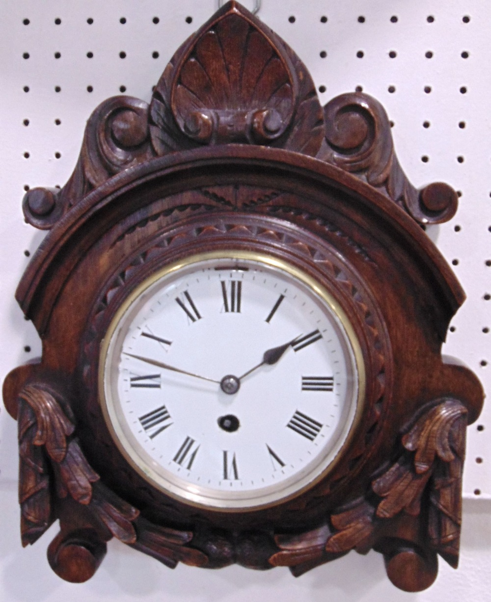 Lot 561 - Oak cased 11.5 inch wall clock, with Arabic numerals and polychrome crest for George IV; together