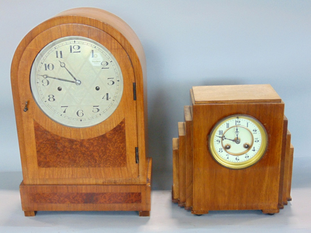 Art Deco walnut cased twin train mantels clock, with enamel chapter ring, arabic numerals,