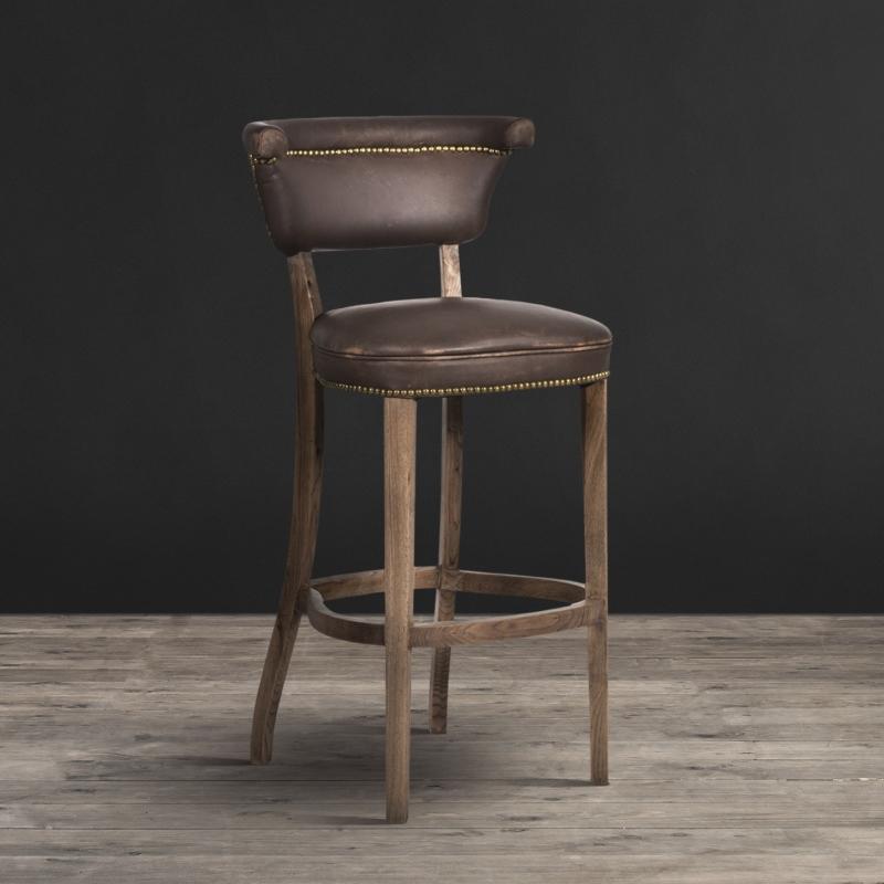 "Lot 9 - Angeles Barstool Vagabond Brown Leather ""Vintage Inspiration Reinterpreted With Modern Elegance."""