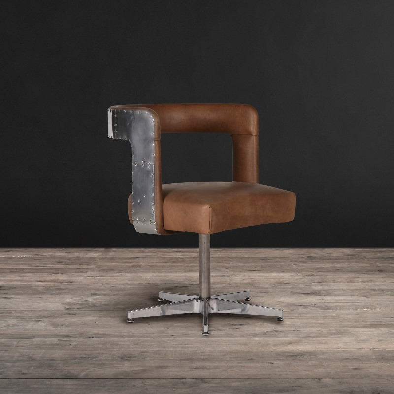 "Lot 15 - Circus Dining Chair With Metal Base Vintage Leather -""Fun, Bold And Modern.""Forget Head Of The Table"