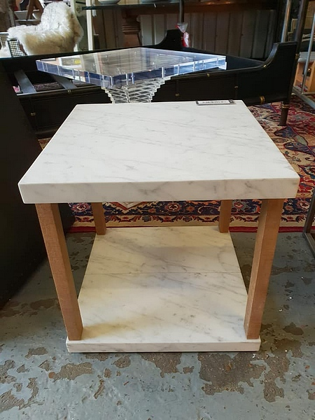 Lot 412 - Valencia Square Side Table White Marble & Rustic Wood 50 x 50cm