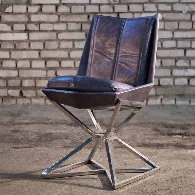 Lot 31 - Michael Yeung Imperial Dining Chair Matrix Shadow & Shiny Steel 48.5 X 60 X 81 Cm RRP £1625