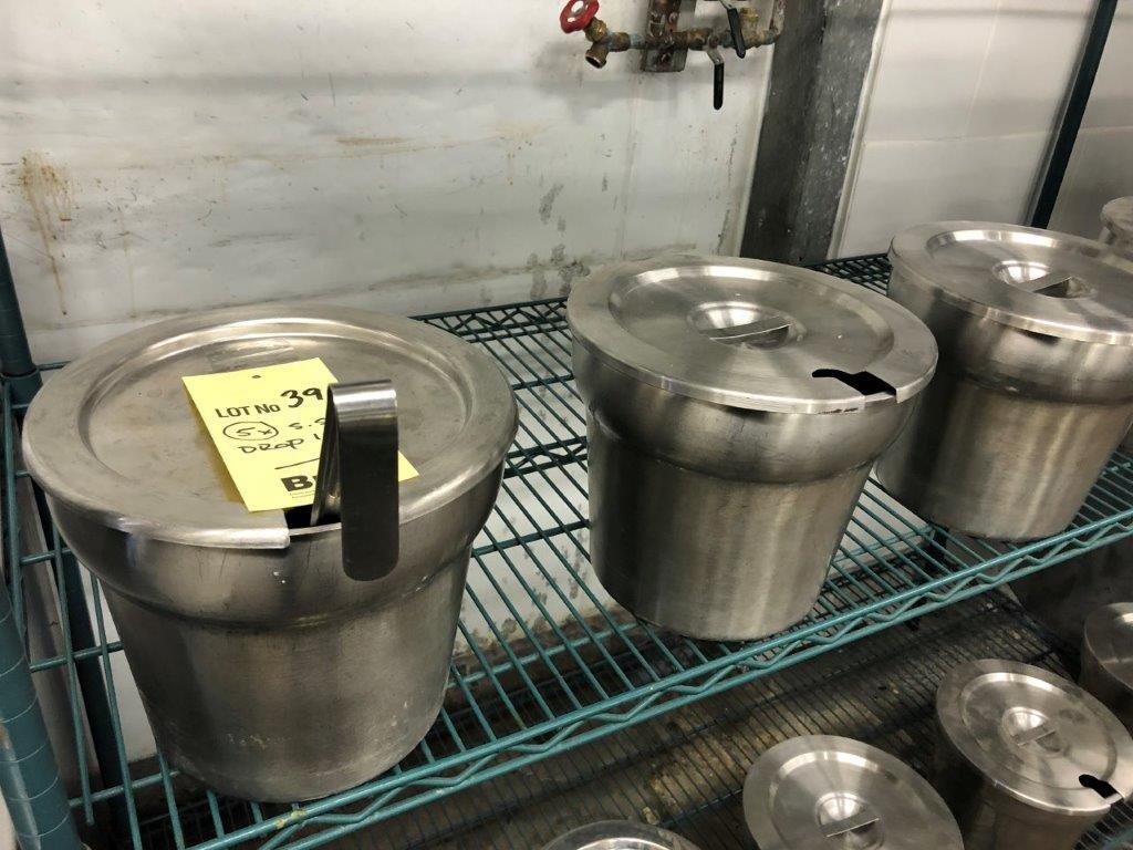 Lot 39 - Lot (5) drop In acier inox avec couvercles