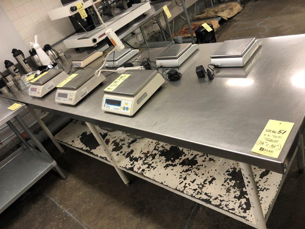 """Table de travail dessus acier inox 114' x 33"""""""
